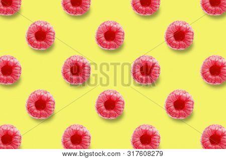 Vivid Fruit Pattern Of Fresh Raspberry On Colourful Background