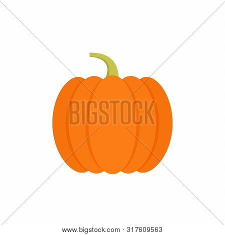 Pumpkin Icon. Vector. Autumn Halloween Or Thanksgiving Pumpkin Symbol. Flat Design. Orange Squash Si