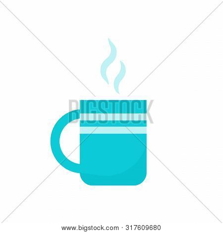 Cup Of Tea Icon. Vector. Flat Design. Blue Teacup With Steam Isolated On White Background. Mug Of Co