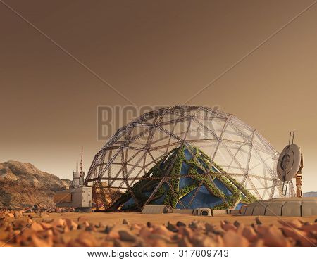 3d Illustration Of A Mars Outpost Colony With A Geodesic Dome Housing A Vertical Garden Pyramid, For