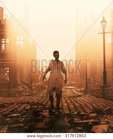 Zombie In Battleground After An Outbreak,3d Illustration For Book Cover