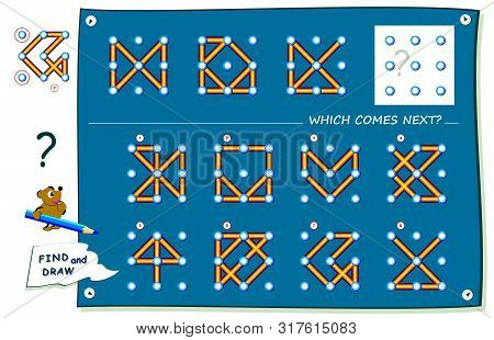 Logic Puzzle Game For Children And Adults. What Sign Should Replace Question Mark? Find It And Draw