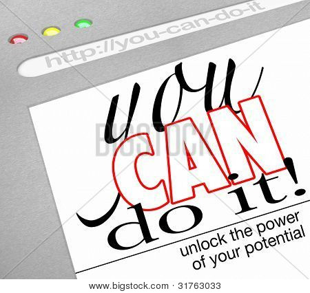 A website background in an Internet browser window with headline You Can Do It - Unlock the Power of Your Potential offering self-help techniques and a how-to on succeeding in life and achiving goals