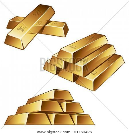 Three groups of gold bars on white background. Vector illustration