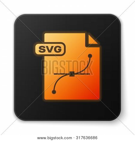 Orange Glowing Neon Svg File Document. Download Svg Button Icon Isolated On White Background. Svg Fi