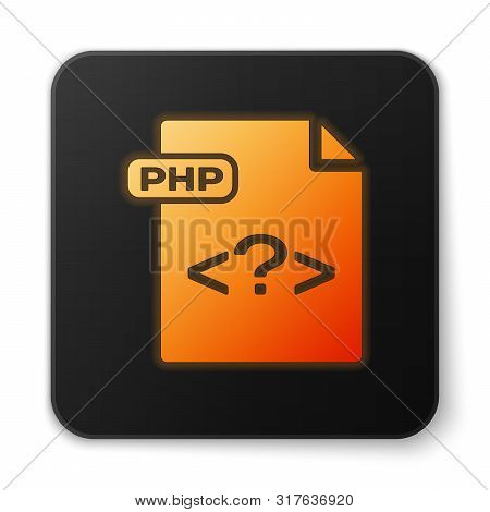 Orange Glowing Neon Php File Document. Download Php Button Icon Isolated On White Background. Php Fi