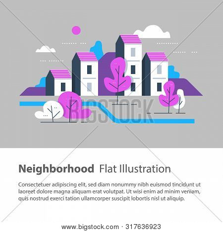 Cozy Town, Row Of Houses By The River With Trees, Residential Building, River Side Settlement, Green
