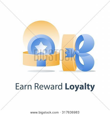 Yellow Reward Gift, Open Present Box, Loyalty Program, Earn Points, Collect Bonus, Redeem Special Pr