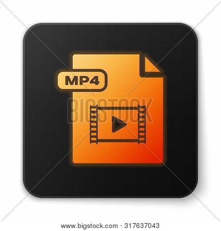 Orange Glowing Neon Mp4 File Document. Download Mp4 Button Icon Isolated On White Background. Mp4 Fi