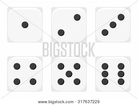 Vector Illustration Of White 1-6 Dices Icon Set. Sex Casino Dices Sign - 1, 2, 3, 4, 5, 6 Isolated O