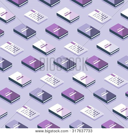Creative Background With Isometric Books, Publicity Event Backdrop, Minimalist Pattern, Literature A
