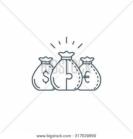 Financial Diversification Concept, Budget Planning, Savings Account, Dollar Euro Money Bags, Dividen
