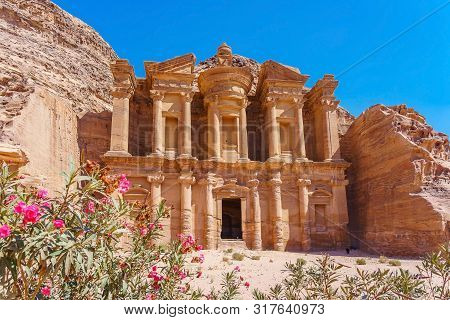 Famous Facade Of Ad Deir In Ancient City Petra, Jordan. Monastery In Ancient City Of Petra. The Temp