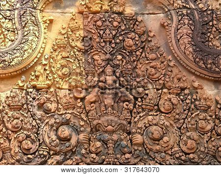 Decorative Pediment At Banteay Srei Temple In Angkor Region