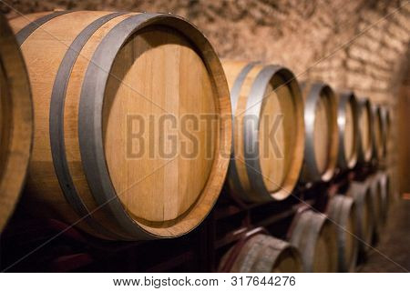 Old Wine Barrels In The A Wine Cellar