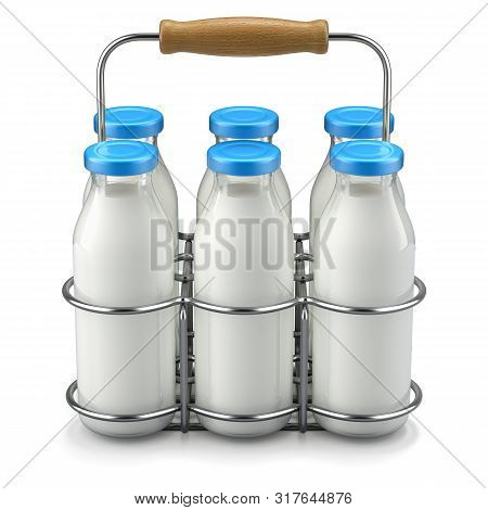 Milk Bottles In Wire Basket - 3d Illustration
