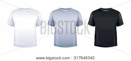 T-shirt Mock Up In White, Gray, Black Color. Blank Tshirt Mockup. Trendy Unisex Sport T Shirt Model