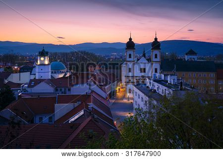 View Of The Old Town Of Trencin From Castle Hill, Slovakia.