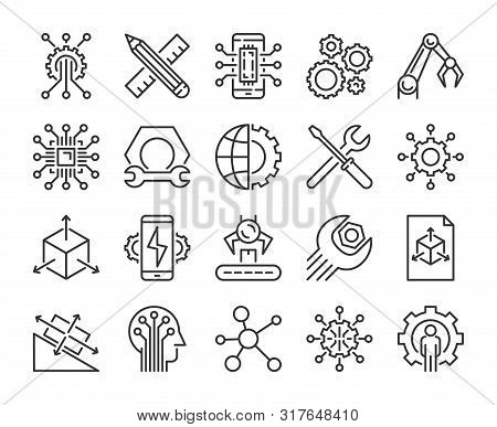 Engineering Icon. Engineering And Innovation Line Icons Set. Vector Illustration.