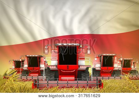 Some Red Farming Combine Harvesters On Rye Field With Poland Flag Background - Front View, Stop Star