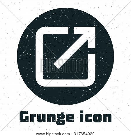 Grunge Open In New Window Icon Isolated On White Background. Open Another Tab Button Sign. Browser F