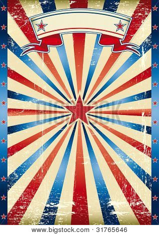 US tricolor vintage poster. A poster with tricolor sunbeams