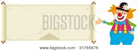 clown with banner. Illustration of a happy clown with a beige sign with a big top. You can read your message. Specific illustration for children and kids related amusements.