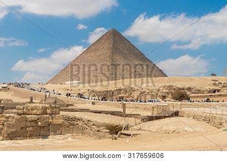 Great Pyramid Of Khufu Or The Pyramid Of Cheops In Giza, Egypt - April 19, 2019