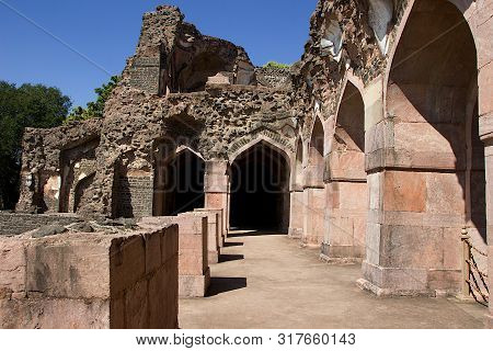 View Of Wrecked Stone Structure In The Vicinity Of Hindola Mahal Or Swinging Palace At Mandu In Madh