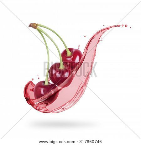 Cherries With Splashes Of Fresh Juice Close-up On White Background