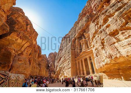 Petra, Jordan - October 13, 2018: Al Khazneh In The Ancient City Of Petra, Jordan. It Is Known As Th