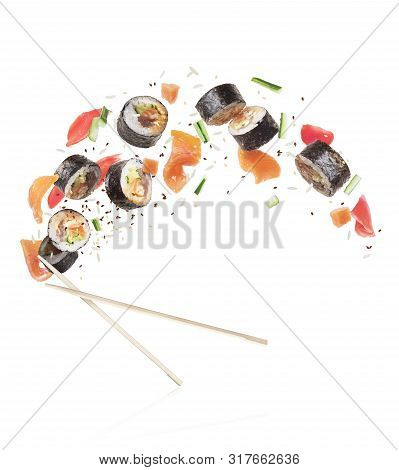 Fresh Sushi Rolls With Salmon Pieces, Isolated On White Background
