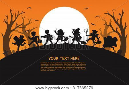 Happy Halloween. Children Dressed In Halloween Fancy Dress To Go Trick Or Treating.template For Adve