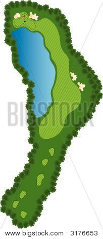 Golf Course Hole with bunkers and water poster