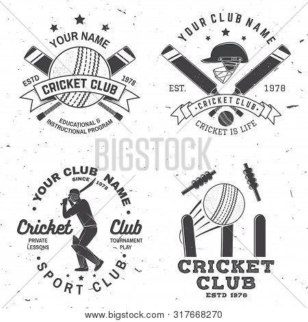 Set Of Cricket Club Badges. Vector. Concept For Shirt, Print, Stamp Or Tee. Vintage Typography Desig