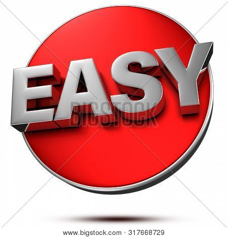 Text Easy 3d Rendering On White Background.(with Clipping Path).