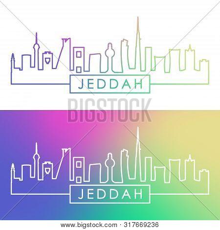 Jeddah City Skyline. Colorful Linear Style. Editable Vector File.