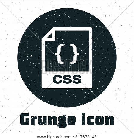 Grunge Css File Document. Download Css Button Icon Isolated On White Background. Css File Symbol. Ve