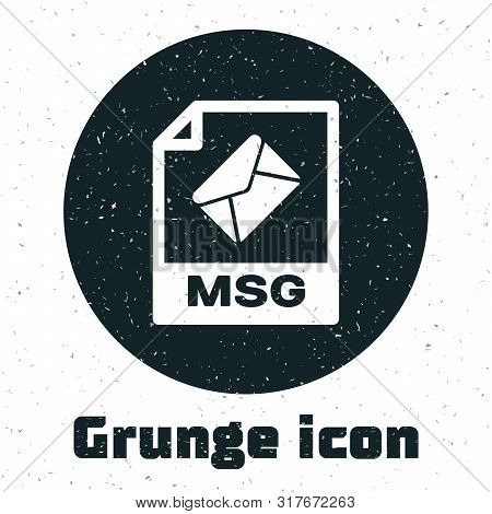 Grunge Msg File Document. Download Msg Button Icon Isolated On White Background. Msg File Symbol. Ve