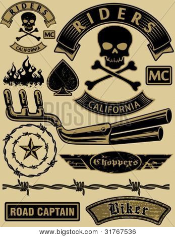 Vector motorcycle design elements set.