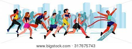 Young Guy Wins In City Marathon. Vector Flat Cartoon Horizontal Illustration. Winner Man With Red Ri