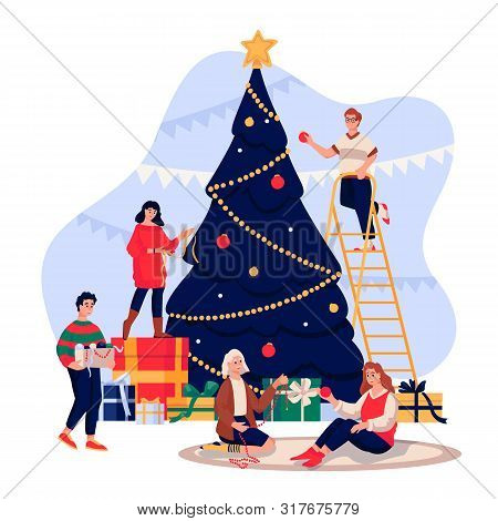 Happy Young People Decorating Christmas Tree. Family Celebrating New Year Eve. Vector Flat Cartoon I