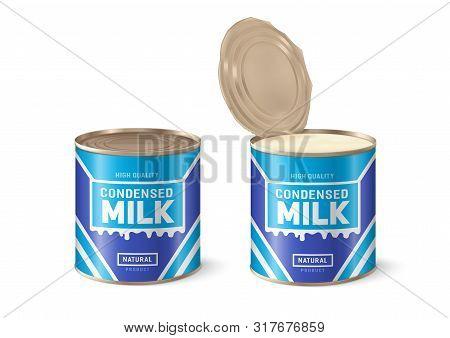 Condensed Milk. Condensed Milk Can. 3d Vector Illustration On White Background.