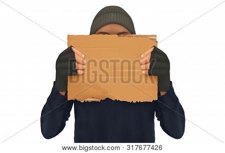 Homeless. Man Holding Up Blank Cardboard Sign. Homeless Holding A Cardboard. Isolated Vector Illustr