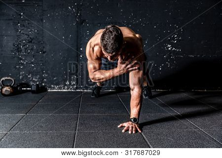 Push Ups Training Workout, Young Sweaty Strong And Fit Muscular Man Push Ups Workout With Touching H