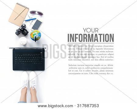Top View Travel Concept. Woman Sitting And Using Laptop Camera, Airplane, Smartphone, Cup Of Coffee