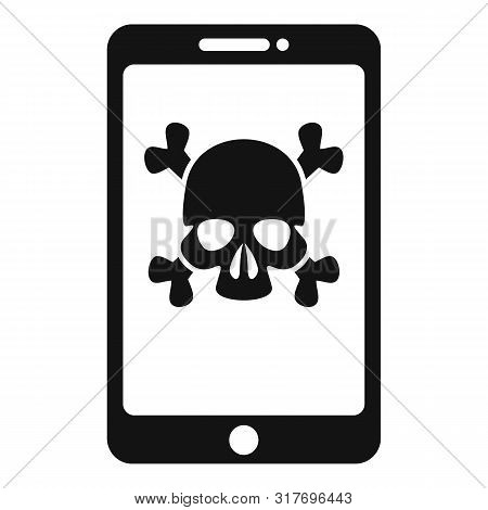 Hacked Smartphone Icon. Simple Illustration Of Hacked Smartphone Vector Icon For Web Design Isolated