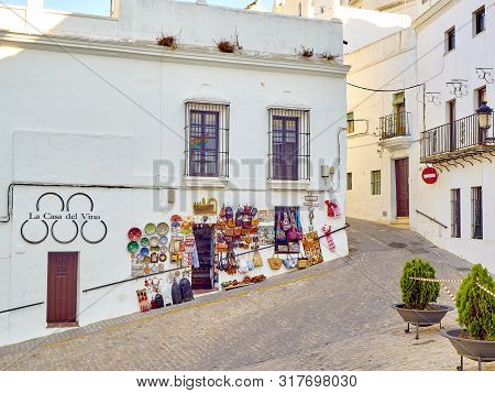 Vejer De La Frontera, Spain - June 26, 2019. A Typical Street With Whitewashed Walls Of Vejer De La