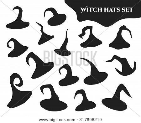 Set of hand-drawn witch hats silhouettes images. Pack of different isolated black Halloween costume elements on white background. Disjunct vector illustration of a traditional wizard clothing poster
