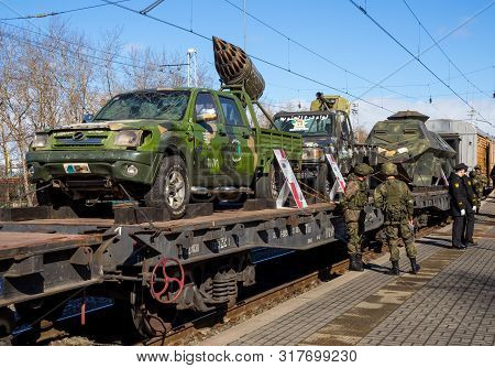 Murmansk, Russia - April 22, 2019: Platforms With Captured Equipment Syrian Militants Traveling Exhi